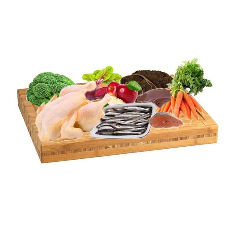 Dieta BARF menú de pollo y pescado